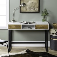 Manor Park Modern Computer Desk with 2-Drawers - White / Barnwood