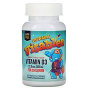 Vitables Vitamin D3 Chewable for Children, Black Cherry Flavor, 12.5 mcg (500 IU), 90 Vegetarian Tablets