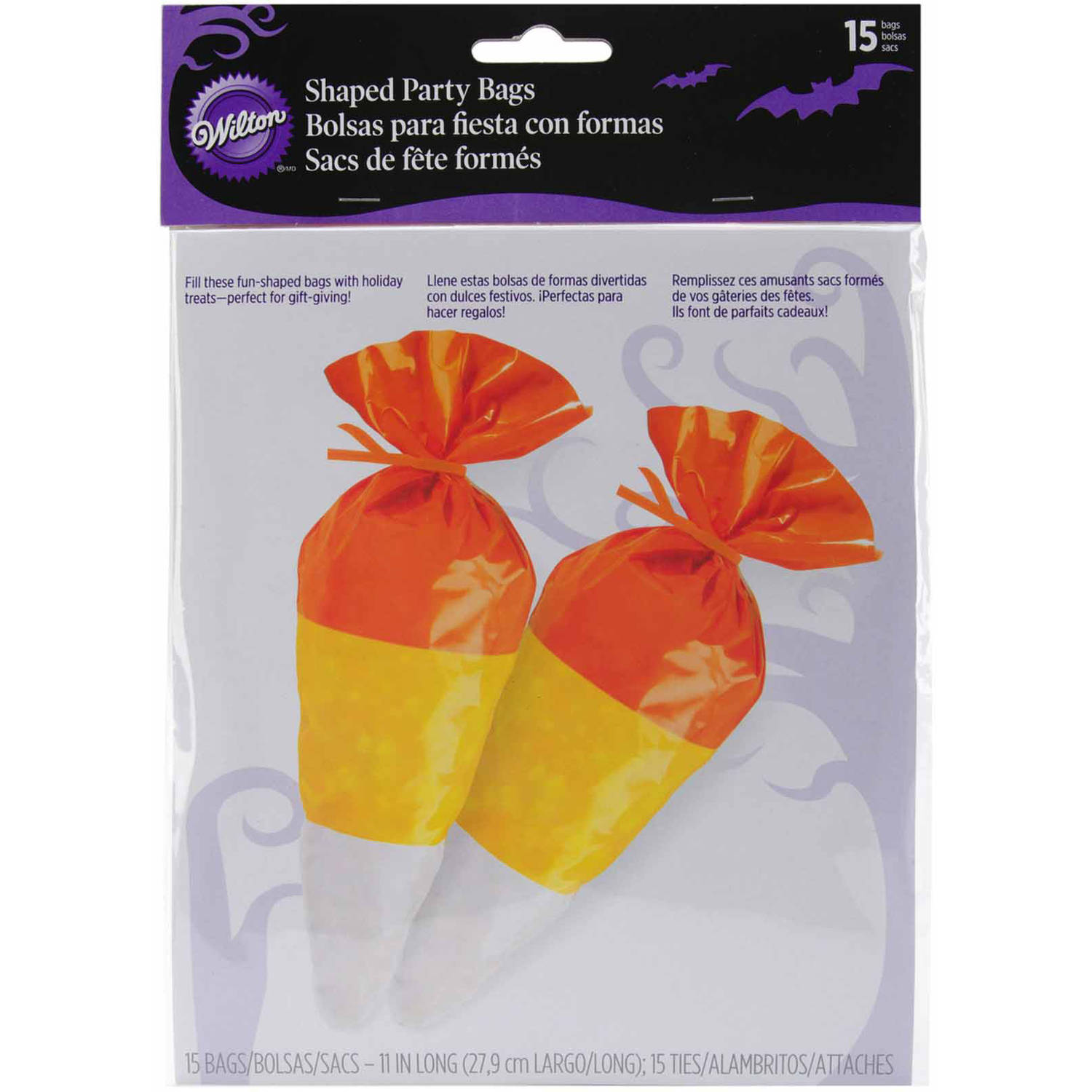"Wilton 6""x9"" Shaped Party Bags, Candy Corn 15 ct. 1912-0030"