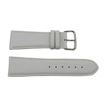 Genuine Leather Alligator Grain 26mm Pastel White Watch - White Genuine Alligator