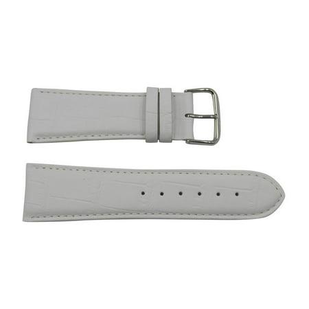 Genuine Leather Alligator Grain 26mm Pastel White Watch - Genuine Louisiana Alligator Strap