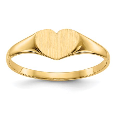 14K Yellow Gold 6 MM Heart Engravable Signet Ring, Size 6 - Heart Shaped Signet Ring