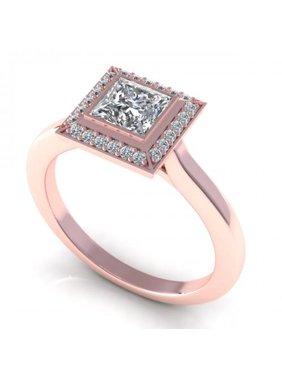 0.49CT princess and round cut diamonds engagement ring