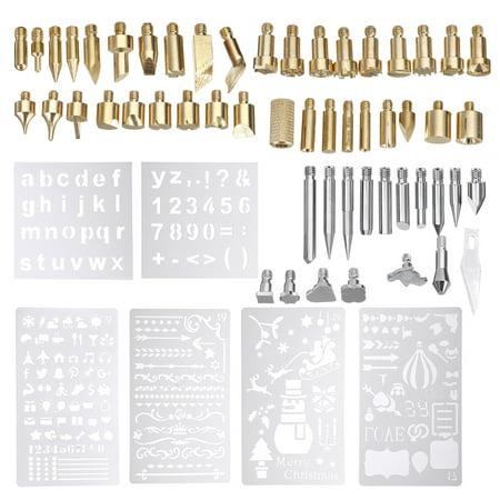 61Pcs 60W Electric Solder Iron Work Wood Burning Pen Tip Kit Pyrography Tool (Sp Soldering Tip)