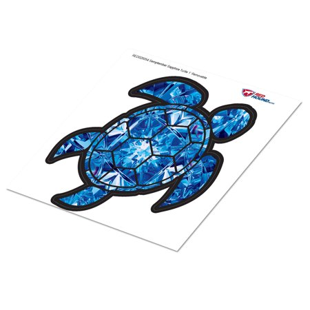 Sapphire Turtle - Red Hound Auto Sapphire Blue Sea Turtle Birthstone Removable Wall Decal September Print Peel and Stick Large 1 Foot Tall Gem Sticker