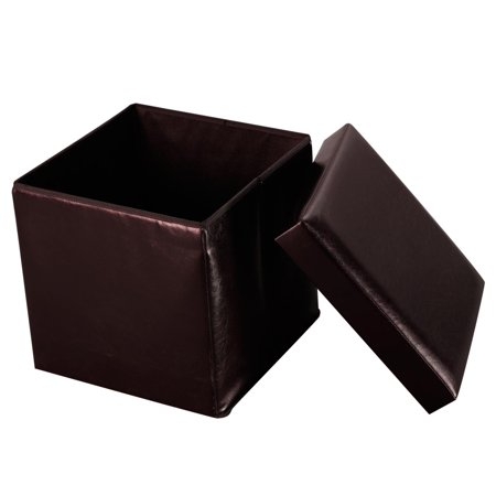 Costway Folding Faux Leather Ottoman Pouffe Storage Box Lounge Seat Footstools (Brown) ()