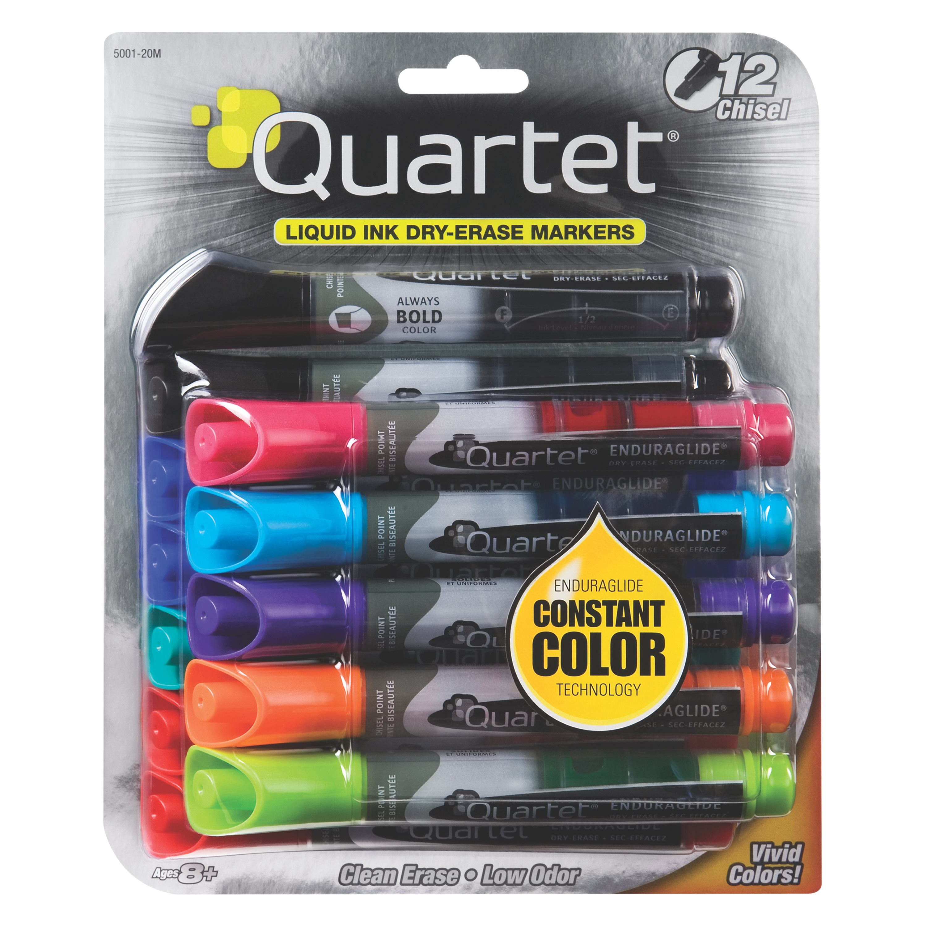 Quartet EnduraGlide Dry-Erase Markers, Chisel Tip, Assorted Colors, 12 Pack (5001-20MA)