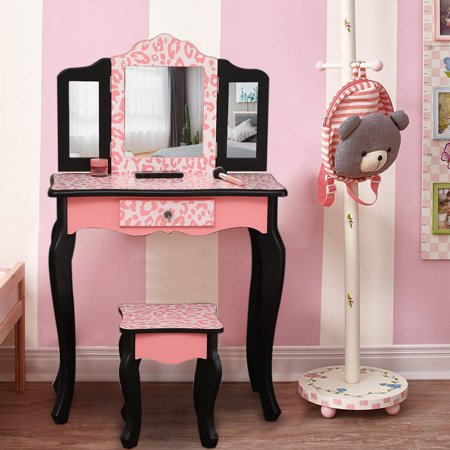 Ktaxon Kids' Wooden Vanity Table and Stool Set with 3 Mirrors, Princess Makeup Dressing Table,Children's Furniture ()