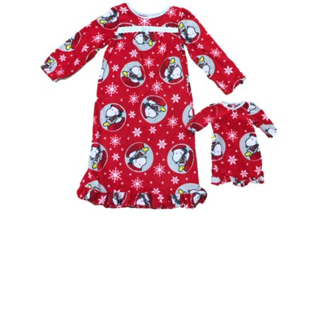 Peanuts Girl Snoopy Woodhouse Christmas Holiday Nightgown & Doll Night Gown - Holiday Nightgown