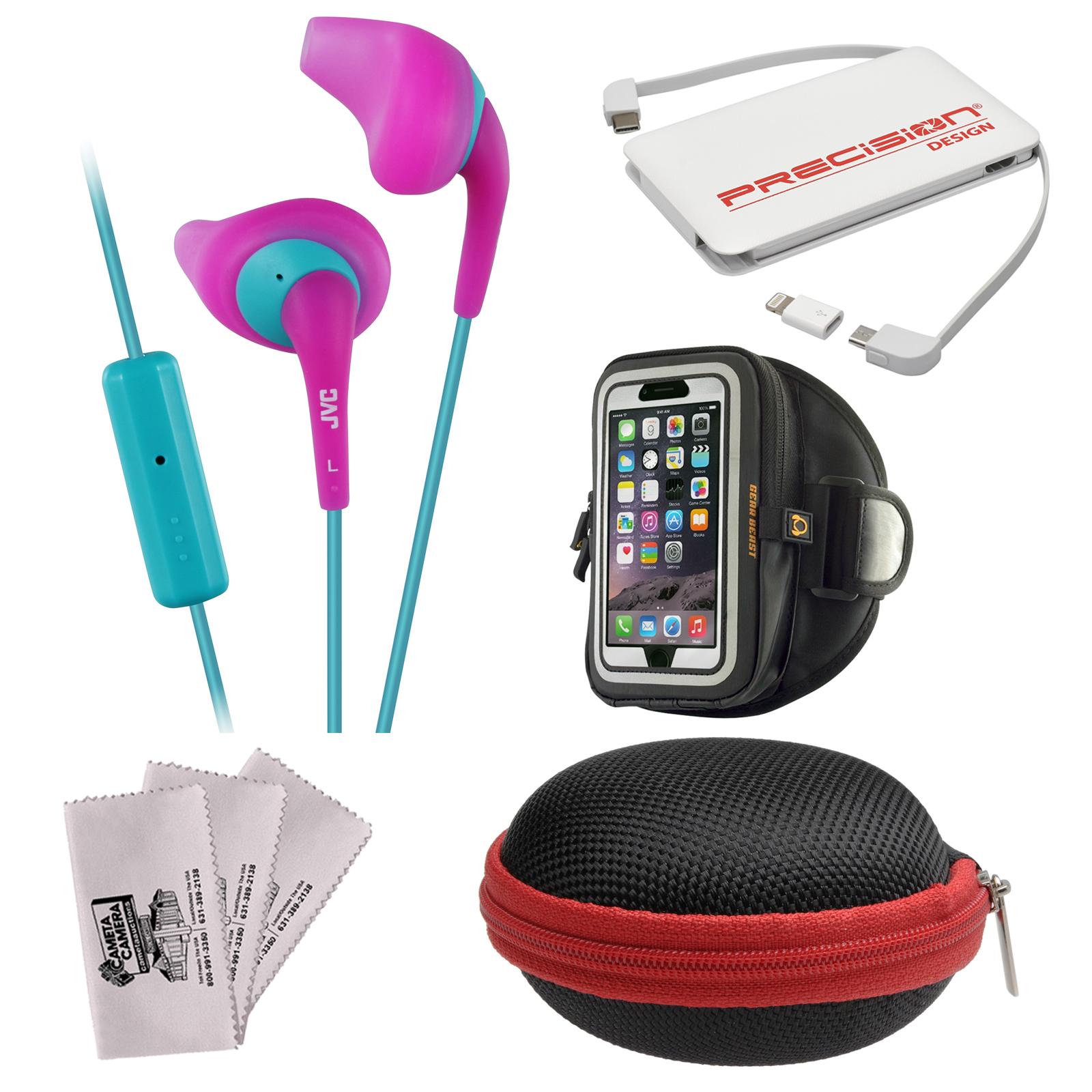 JVC HA-ENR15 Gumy Sport Headphones with Remote & Mic (Black) + Power Bank + Hard Case + Smartphone Sport Armband + Kit