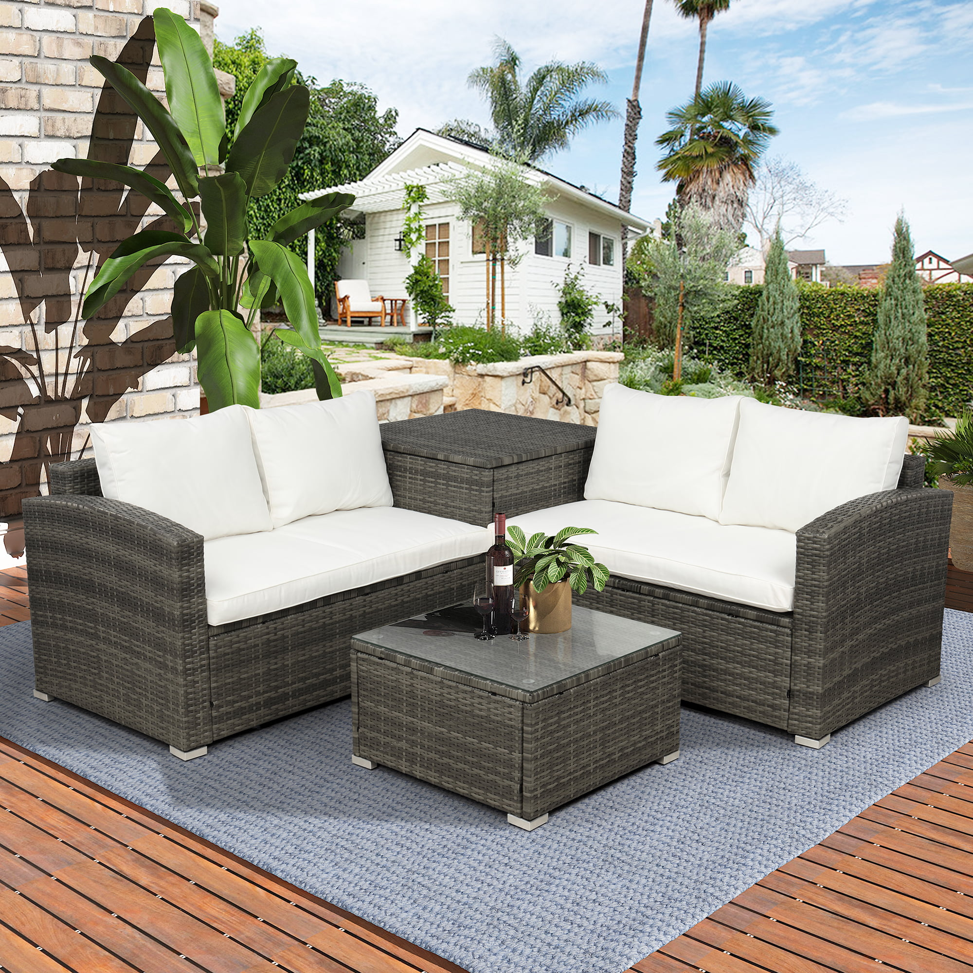 4-Piece Rattan Patio Furniture Sets Clearance, Wicker Bistro Patio