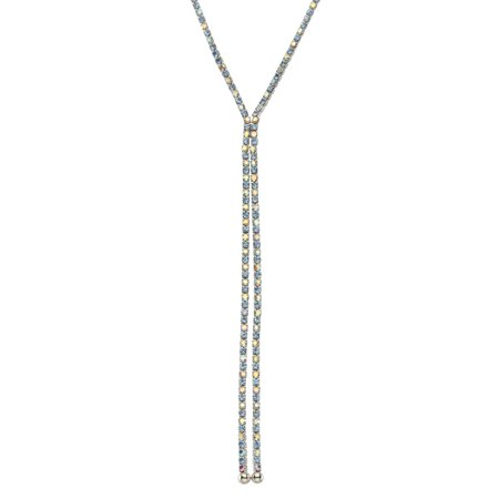 X & O Rhodium Plated Crystal Single Row X-shape necklace in Light Sapphire and Crystal AB Combination *** ()