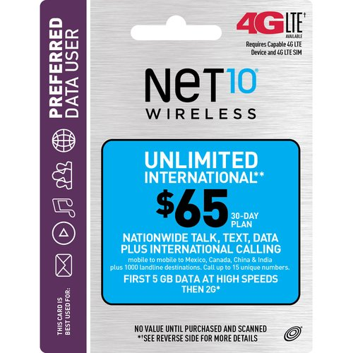 NET10 Wireless $65 30-Day Unlimited International Plan Prepaid Phone Card