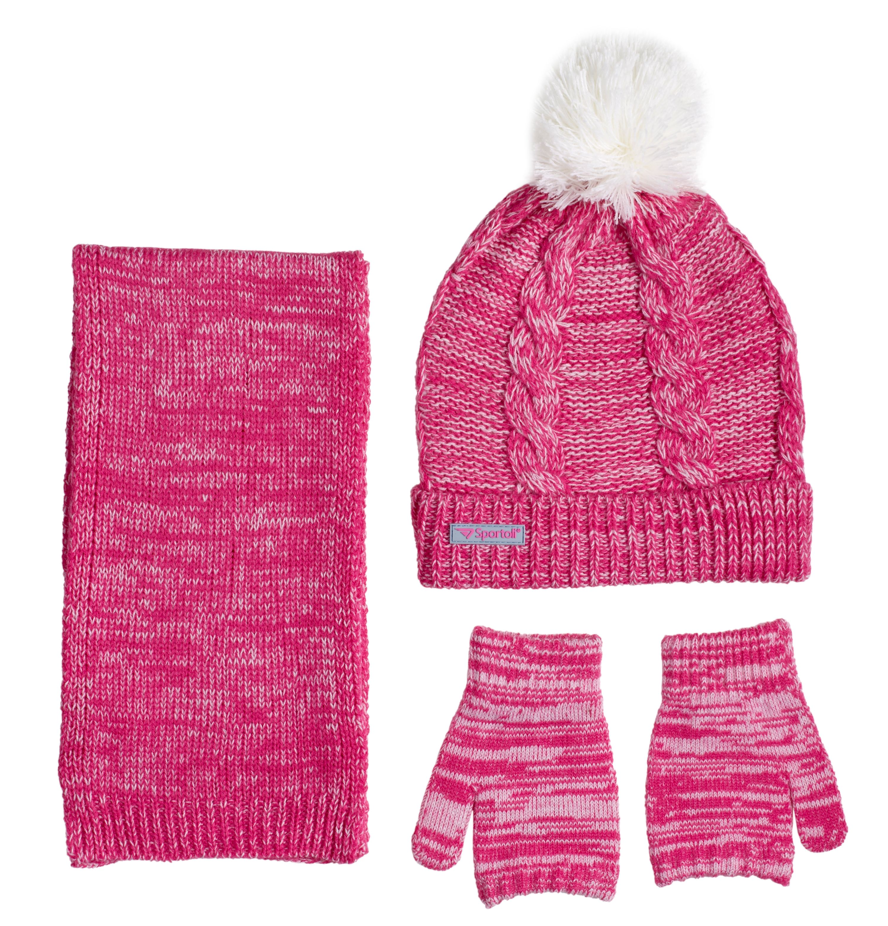 Sportoli Women/'s Girls/' kids 3-Piece Cable Knit Cold Weather Set Hat Scarf Glove