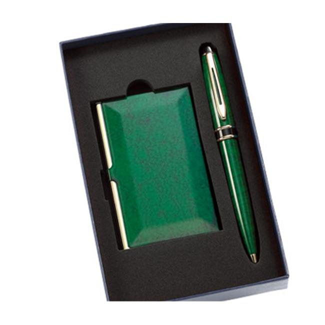 Aeropen International GC-62 Set Green Marble Card Case and Matching Pen with Gift Box