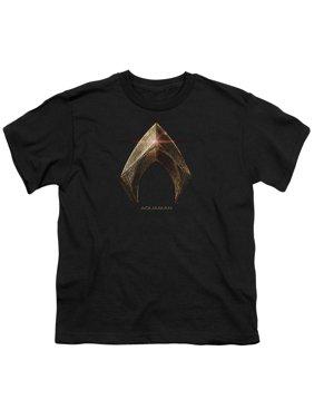 Justice League Movie - Aquaman Logo - Youth Short Sleeve Shirt - Large