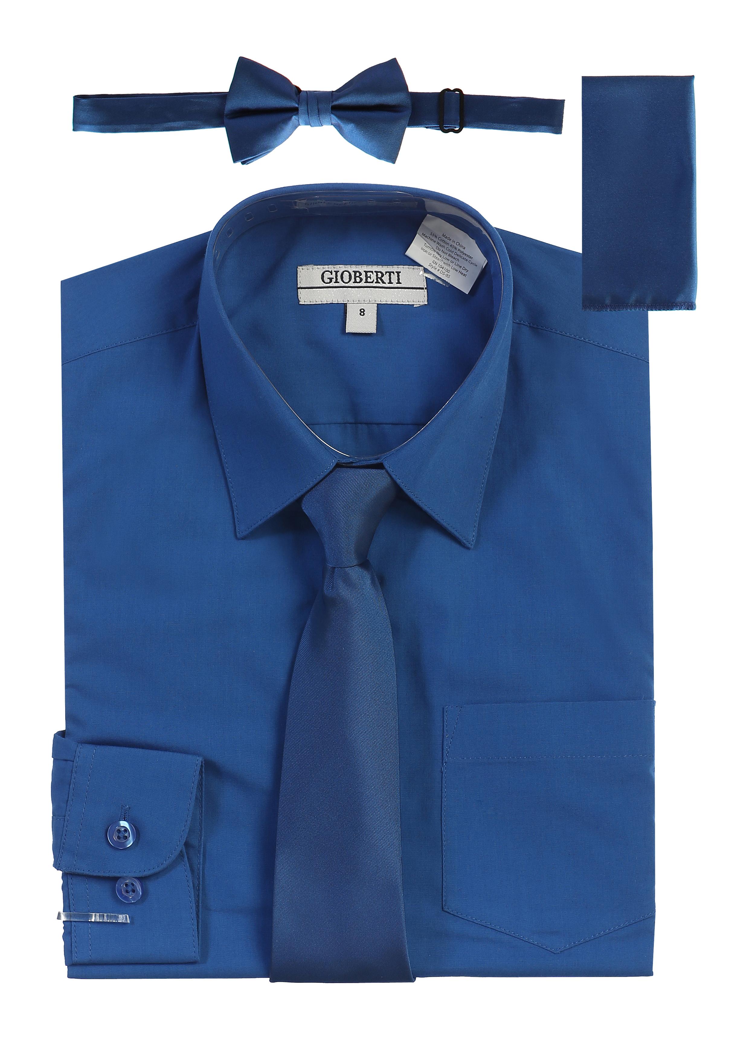 Gioberti Boy's Long Sleeve Dress Shirt + Solid Zippered Tie Set