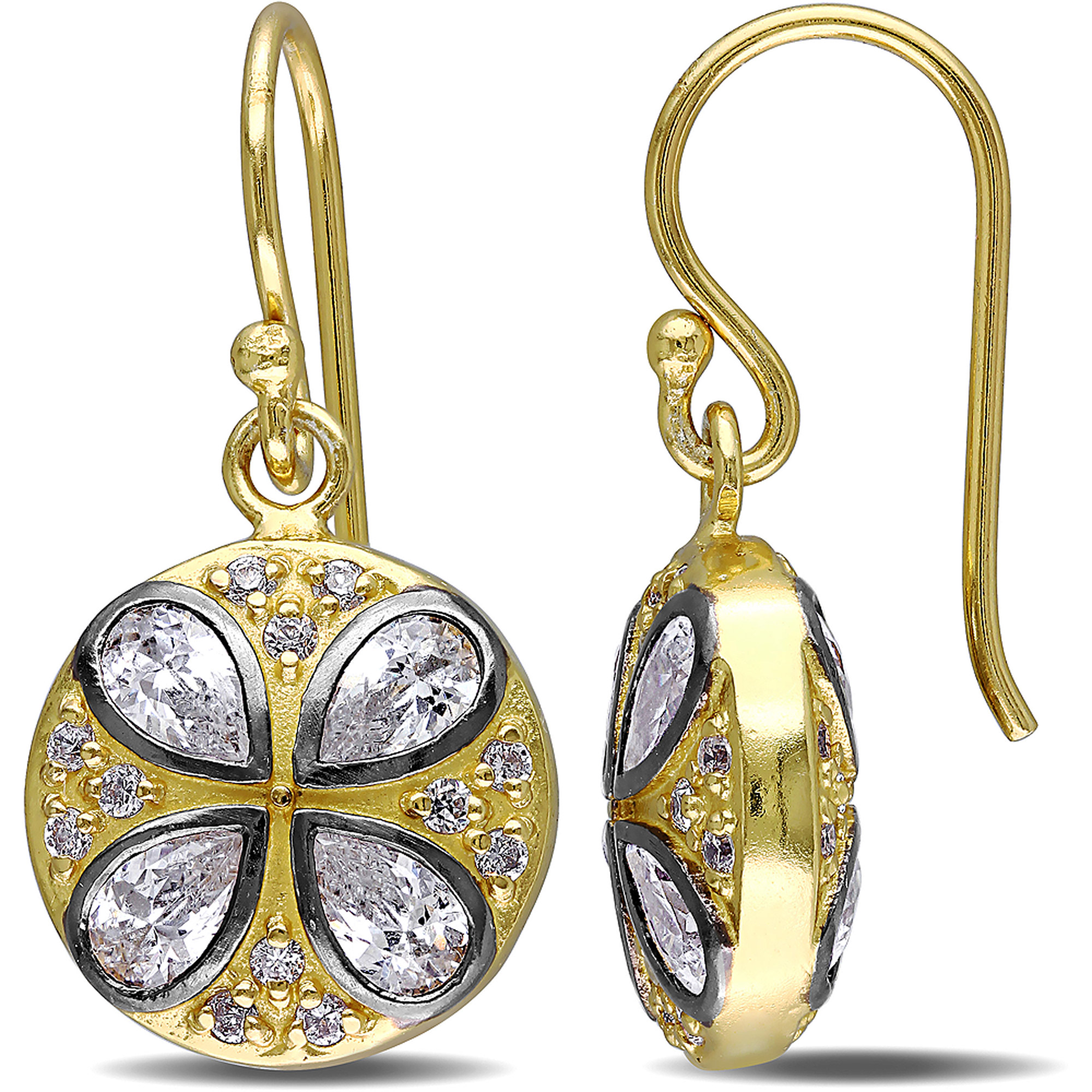 Miabella 3-1/4 Carat T.G.W. Cubic Zirconia Yellow Rhodium-Plated Sterling Silver Dangle Earrings