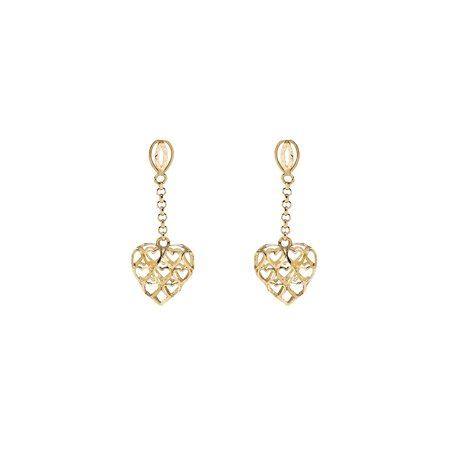 10K Yellow Gold Heart Drop Earrings