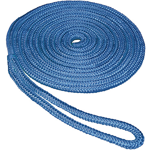 "SeaSense Double Braid Nylon Dock Line, 5 8"" x 30', 15"" Eye, Blue by Generic"