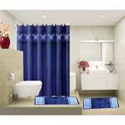 4PC NAVY BUTTERFLY BATHROOM SPRING DESIGN SET 2 BATH MATH, 1PC SHOWER CURTAIN , 12 RINGS COVERED ANTI-SLIP RUBBER MAT BACKING