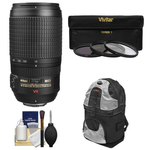 Nikon 70-300mm f/4.5-5.6 G VR AF-S Zoom-Nikkor Lens + Backpack + 3 UV/ND8/CPL Filters for D3200, D3300, D5300, D5500, D7100, D7200, D750, D810 Cameras