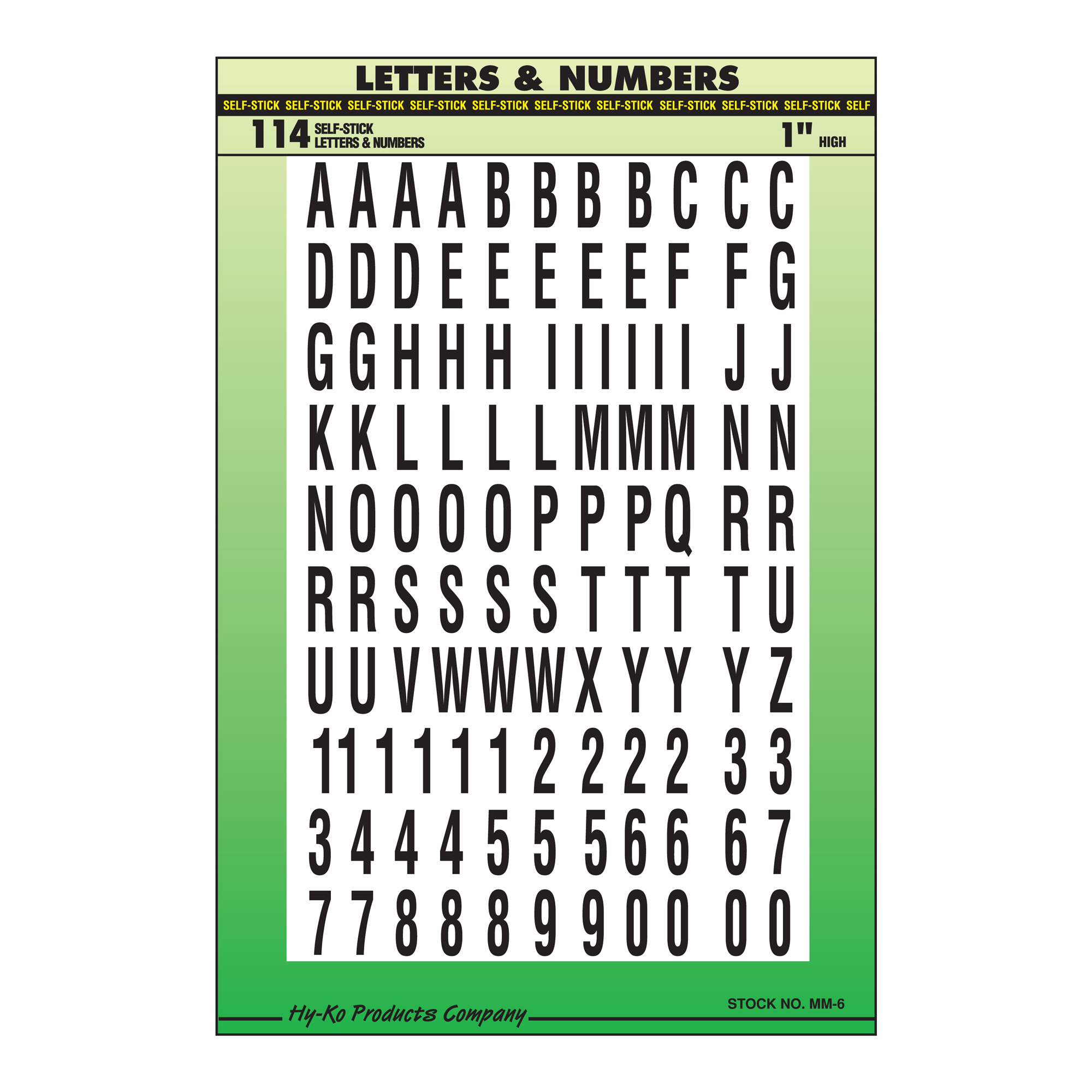 """1"""" Black and White Letters and Numbers Set"""