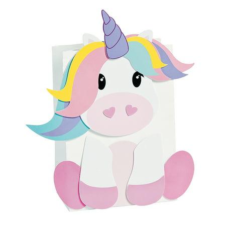Fun Express - Unicorn Valentine Card Holder Bag CK-12 for Valentine's Day - Craft Kits - Home Decor Craft Kits - Containers - Valentine's Day - 12 Pieces