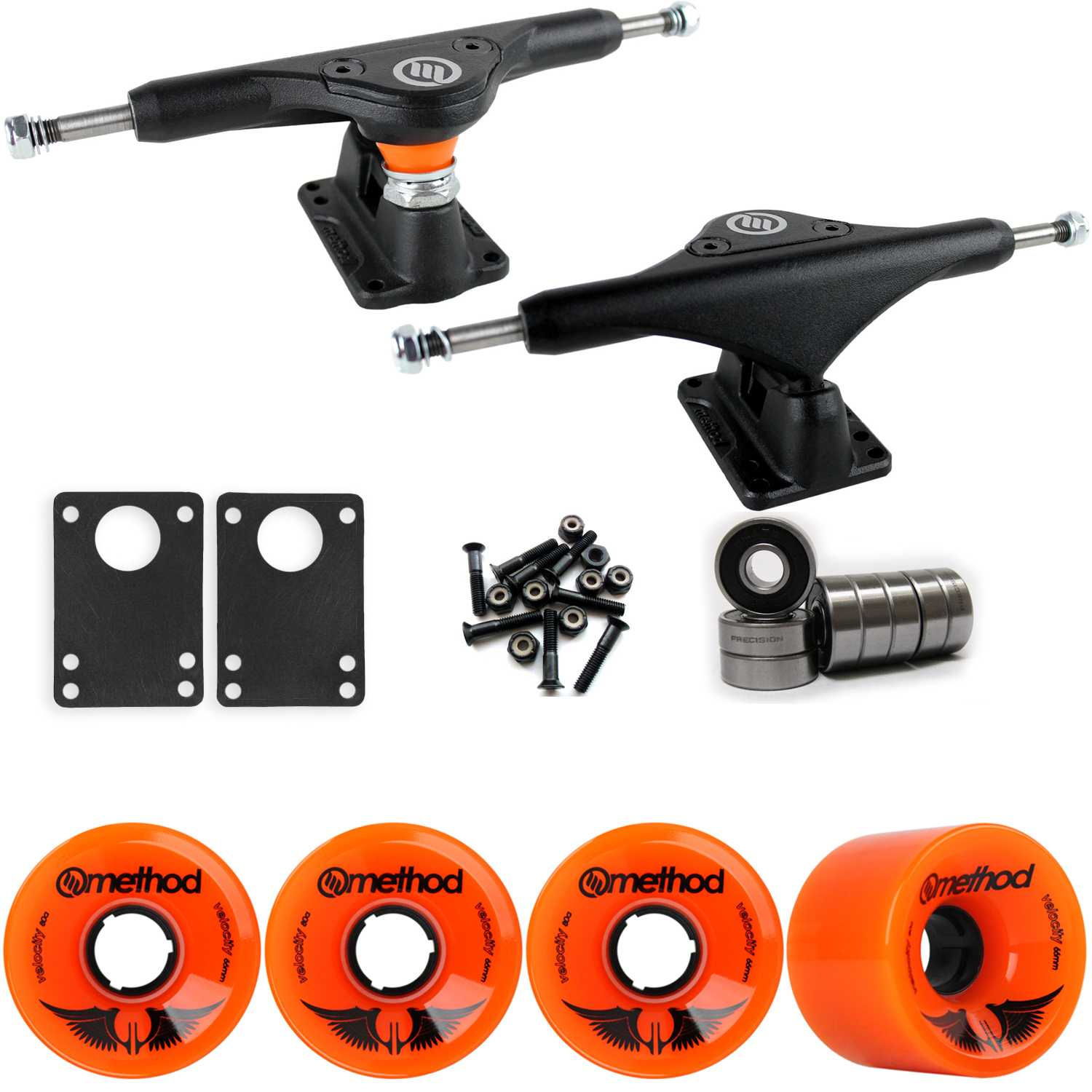 Longboard Trucks Wheels Package METHOD VELOCITY ORANGE 66mm 80A ZC 170MM BLACK