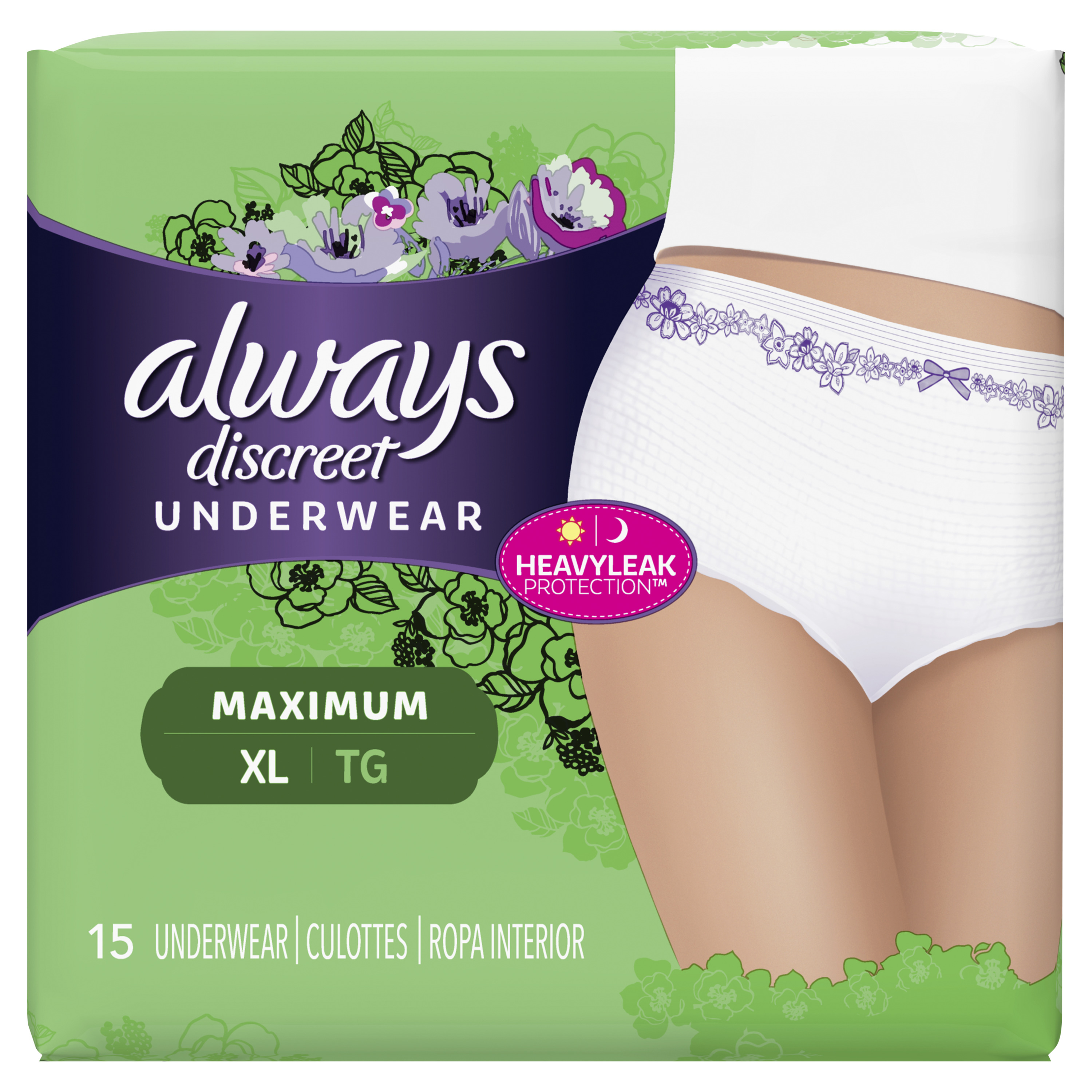 Always Discreet, Incontinence Underwear for Women, Maximum Protection, XL, 15 Count