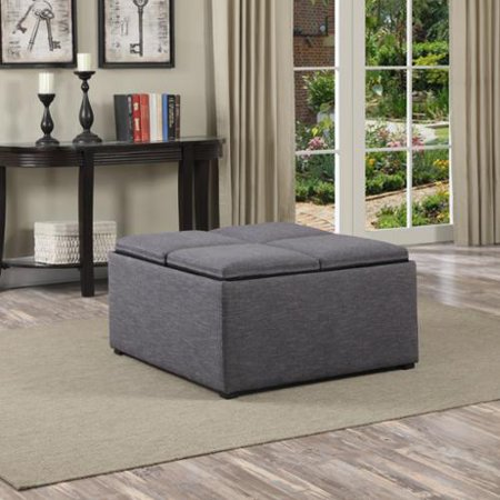 Awesome Wyndenhall Franklin Square Storage Ottoman With 4 Serving Trays Gmtry Best Dining Table And Chair Ideas Images Gmtryco