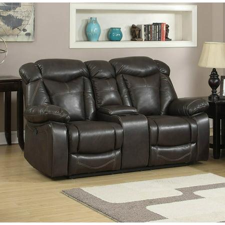 - AndorraDark Walnut Air Leather Living Room Reclining Gliding Loveseat and center console