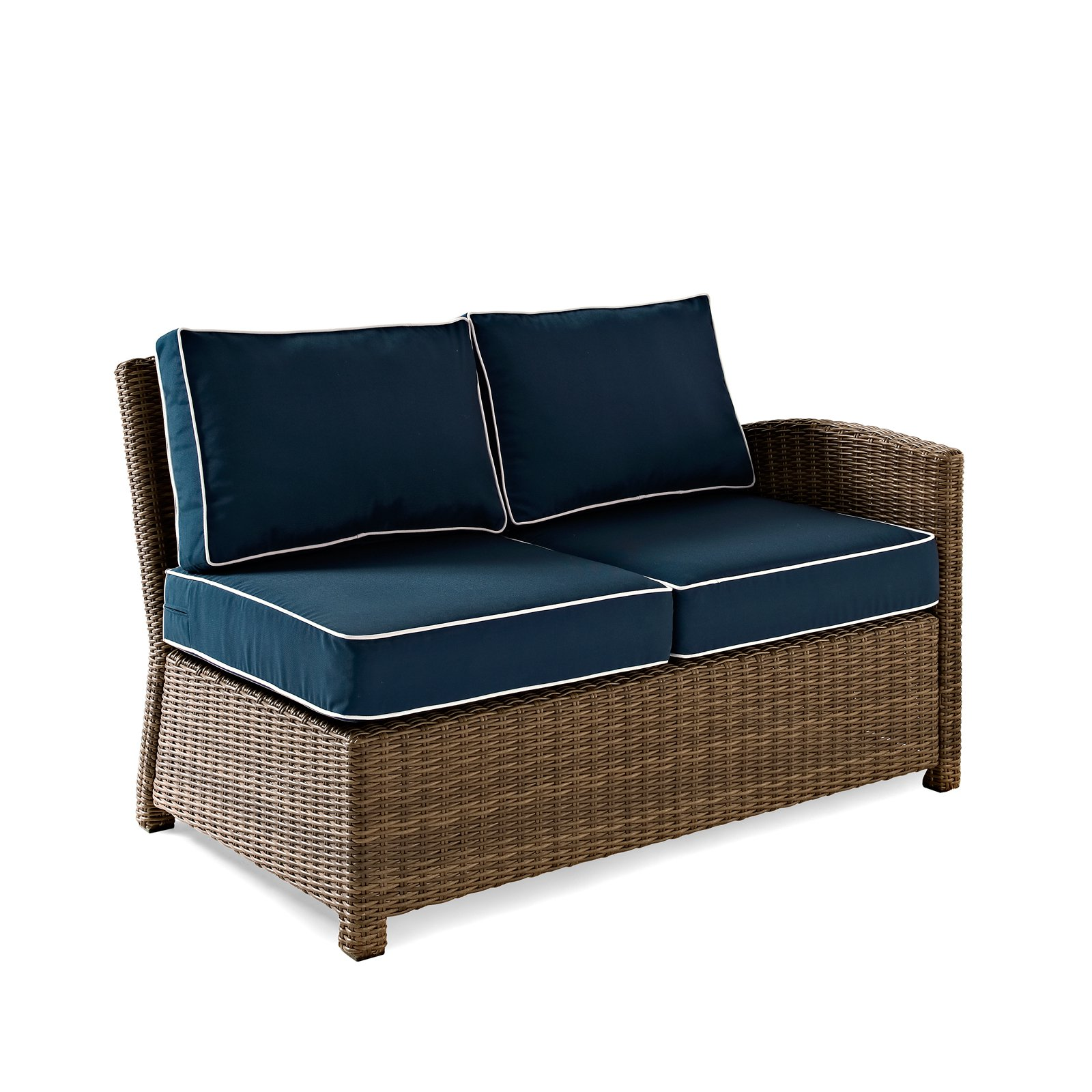 Crosley Catalina Wicker Patio Round Sectional Sofa with Sand