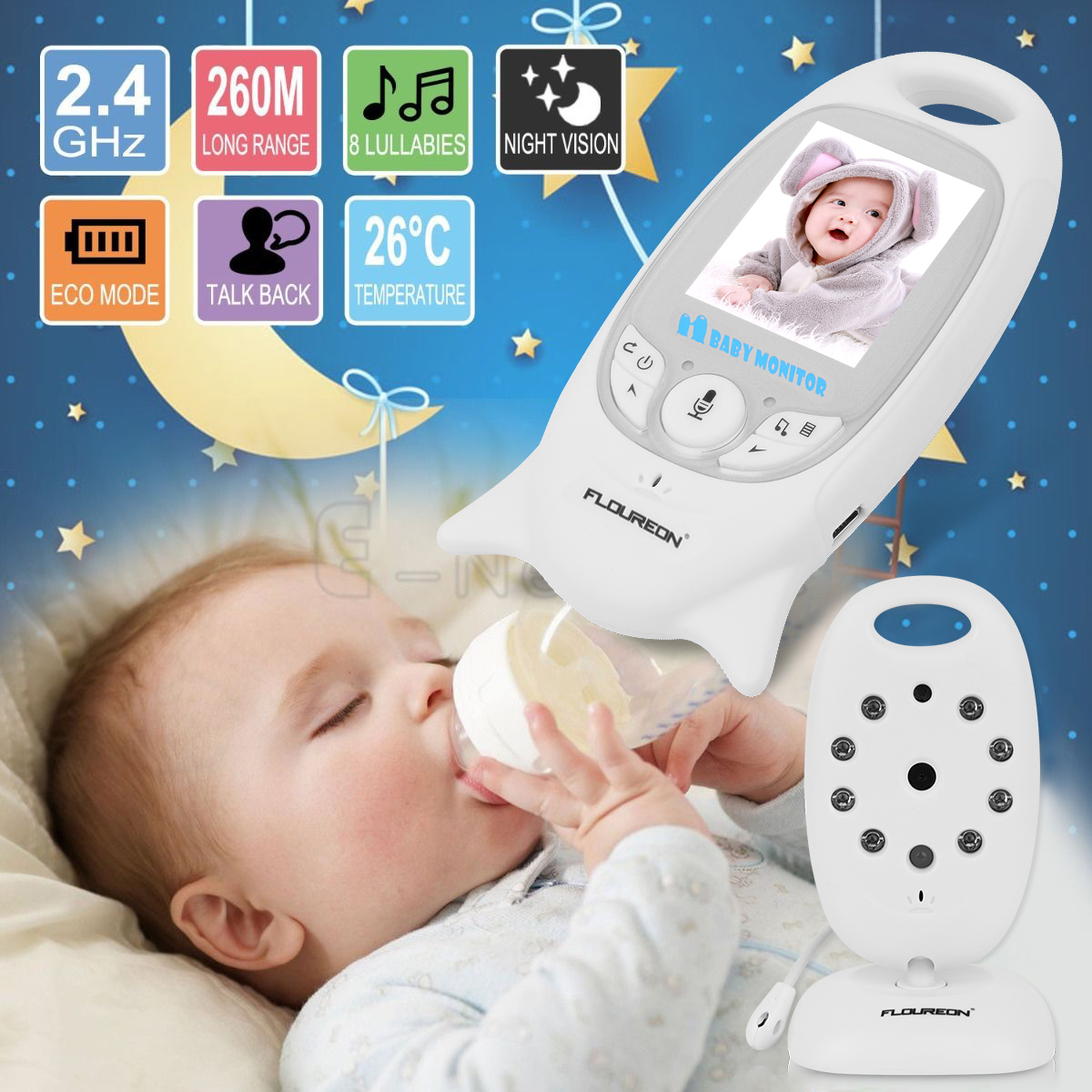 Video Baby Monitor with Auto Night Vision Digital Camera, Two Way Talkback, Temperature Sensor, Lullabies (2.0 Inch LCD Display)