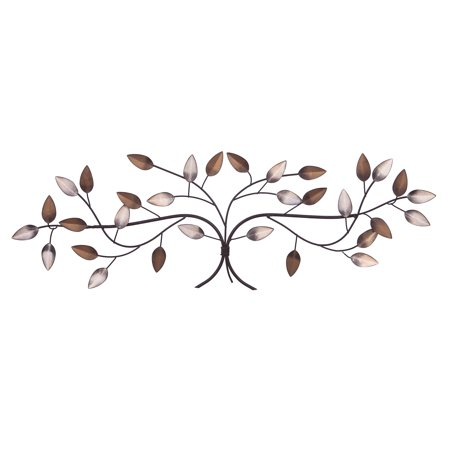 Patton Wall Decor Bronze Tree Branch with Gold and Silver Leaves Metal Wall Décor ()