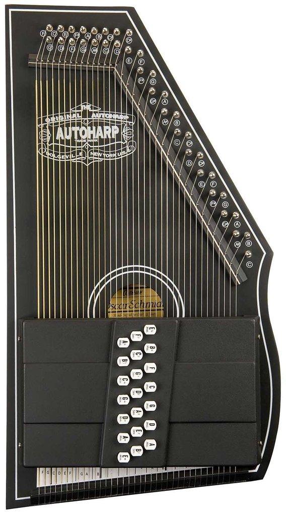 Oscar Schmidt OS73CE 1930's Reissue 21 Chord Autoharp with Pickup Black by Oscar Schmidt