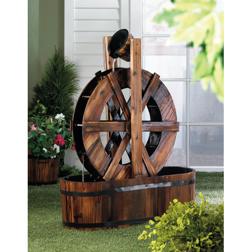 Zingz & Thingz Wood Spinning Water Mill Fir Wood Fountain by Zingz & Thingz