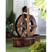 Zingz & Thingz Wood Spinning Water Mill Fir Wood Fountain