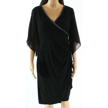 MSK NEW Black Womens Size 8 Embellished Chiffon Ruched Sheath Dress