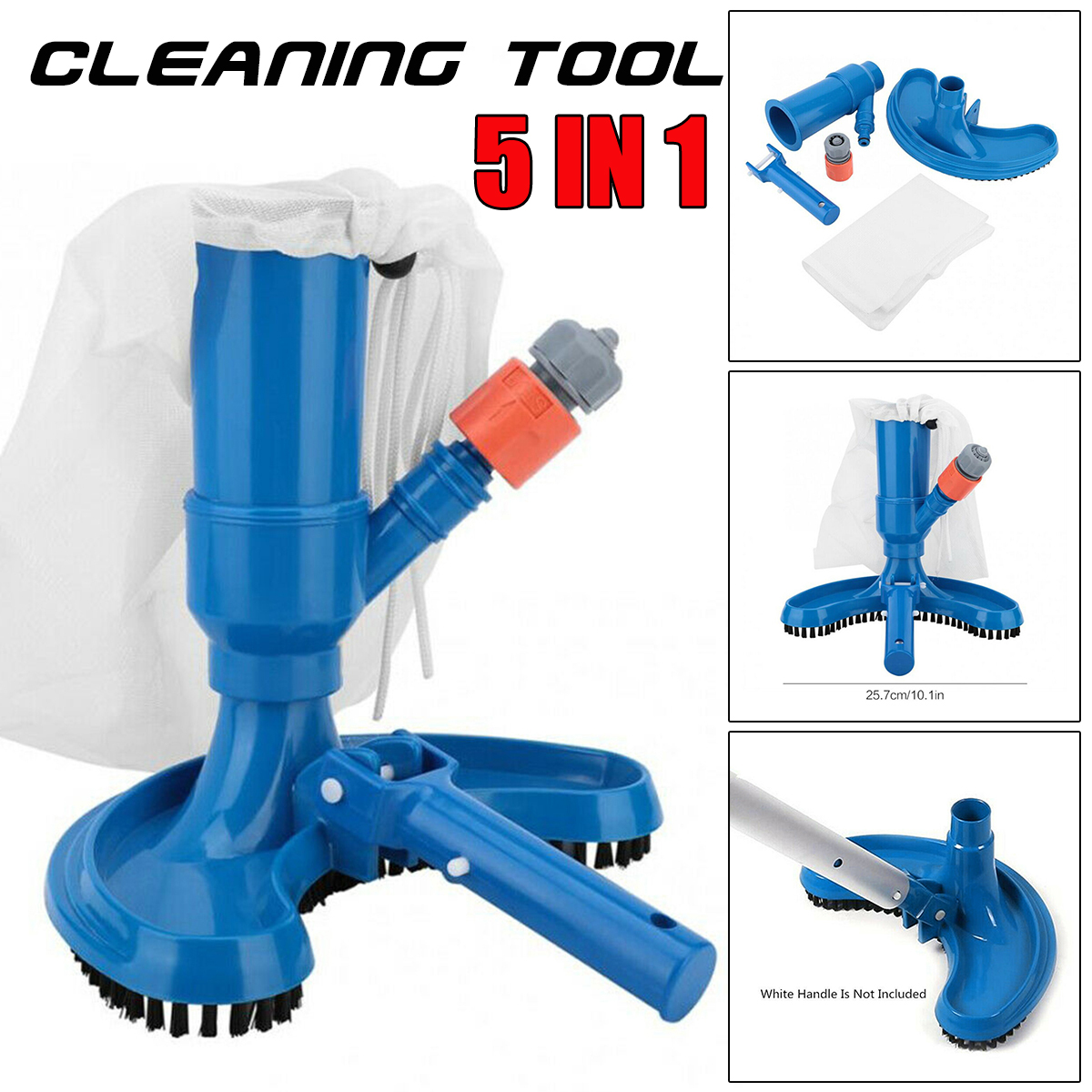 Bag Pool Vacuum Jet Cleaner W//Brush And Pole Pool Cleaning Accessories For Pool Spa Fountain Hot Tub Portable Pool Vacuum Jet Cleaner