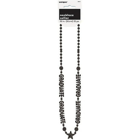 Graduation Bead Necklace Party Favor, Black, - Graduation Favor Ideas
