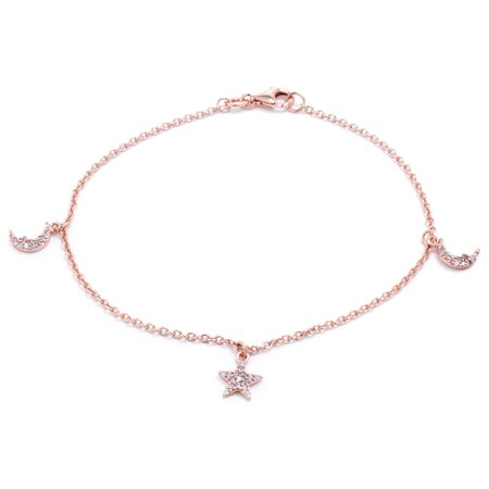 Pave Star Bracelet (Marisol & Poppy 14kt Rose Gold Plate Over Fine Sterling Silver Cubic Zirconia Pave Crescent Moon and Star Bracelet 7.5