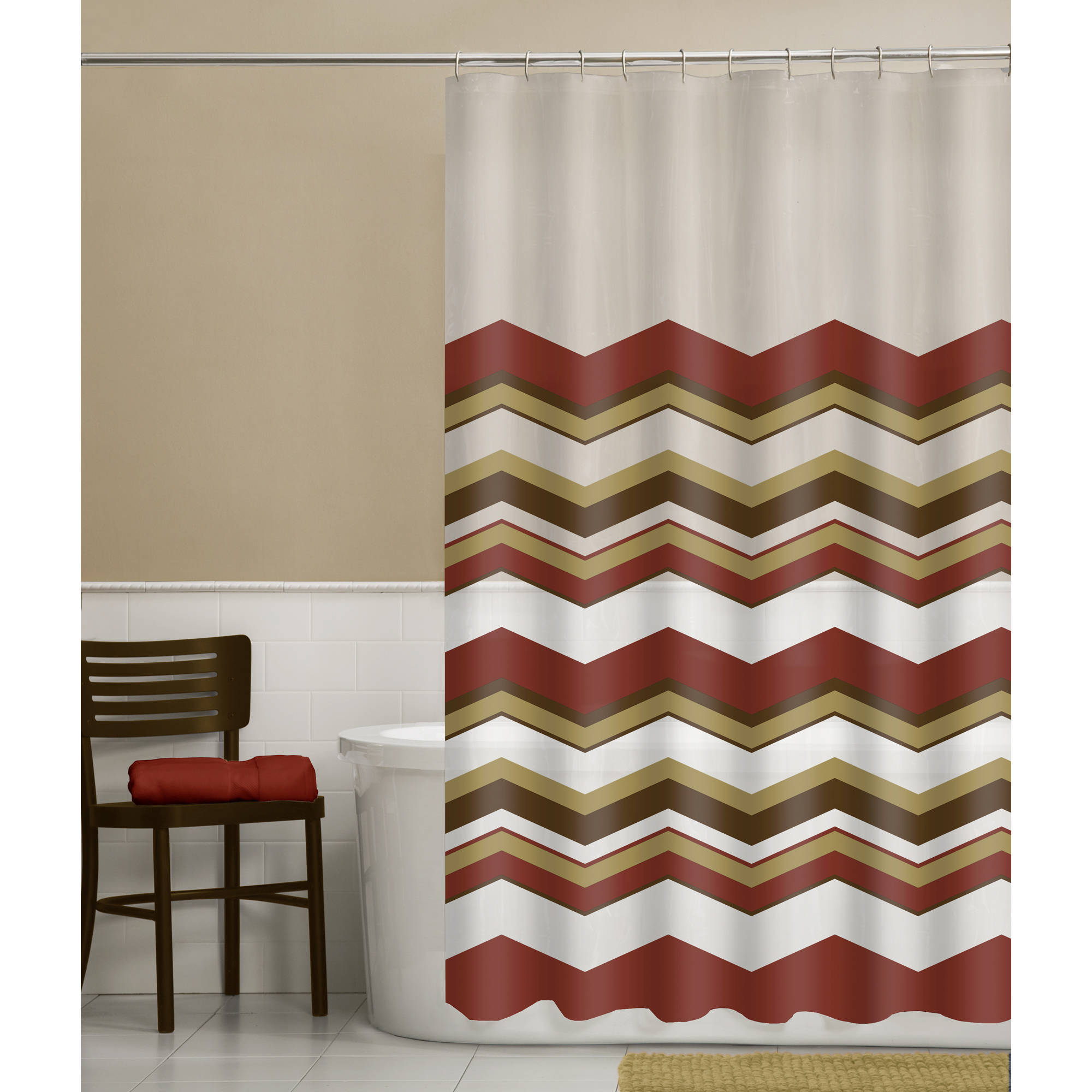 Maytex Chevron 13-Piece PEVA Shower Curtain Set