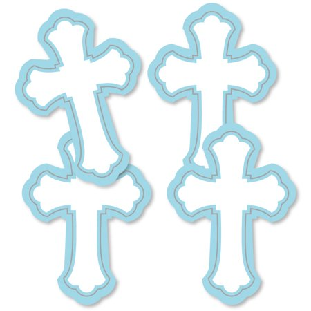 Little Miracle Boy Blue & Gray Cross - Decorations DIY Baptism or Baby Shower Party Essentials - Set of 20 - Baptism Decorations