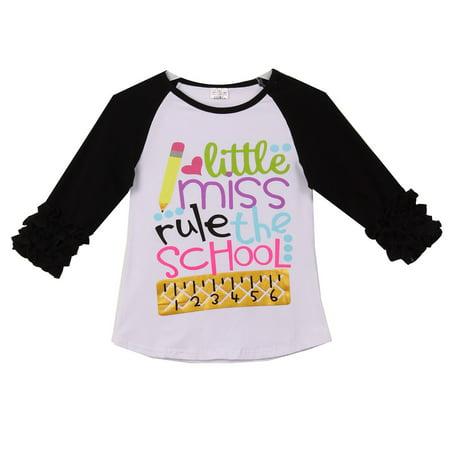 Little Girl Kids Little Miss Rule School Raglan Ruffle Shirt Top Tee T-Shirt White Black 2T XS (200904)](School Girl Top)