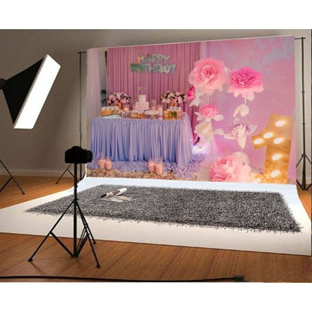 HelloDecor Polyster 7x5ft Photography Backdrop Happy Birthday Interior Decorations Background Girl Flowers Desk Candles Curtain Scene