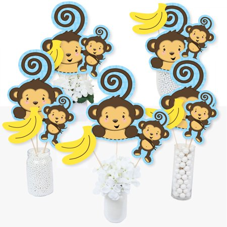 Mason Jar Baby Shower Centerpieces (Blue Monkey Boy - Baby Shower or Birthday Party Centerpiece Sticks - Table Toppers - Set of)