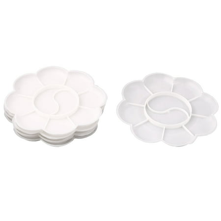 Plastic 10 Well Artist Paint Painting Mixing Palette Plate Tray White 5 Pcs (Paint Palate)