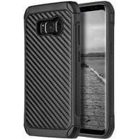 Mundaze Samsung Galaxy S8 Plus Tough Anti-Shock Carbon Fiber Texture Case, Black