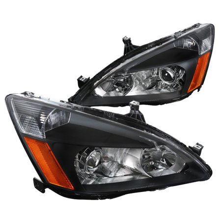 Spec-D Tuning For 2003-2007 Honda Accord Projector Headlights Retro Style Black Replacement L + R (Left+Right) 2003 2004 2005 2006 2007
